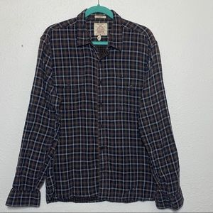 Lucky Brand Brown Plaid Casual Button Up Shirt